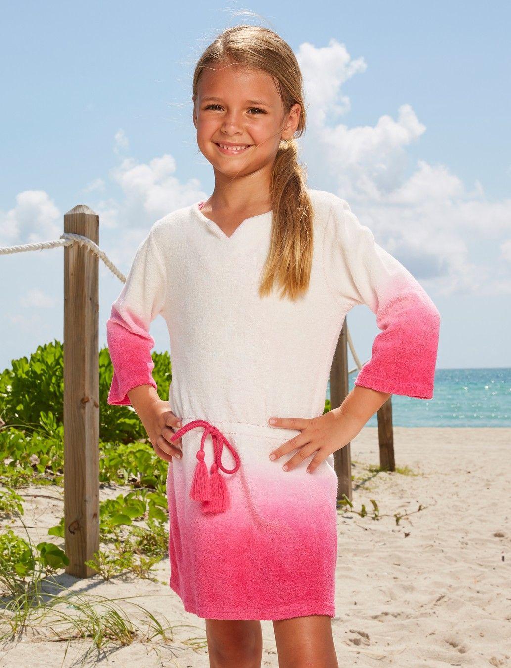 ea5108faf0 Little Girls Boho Beach Swimsuit & terry cover-up-set, 50+UPF Sun  Protective Clothing, Cabana Life