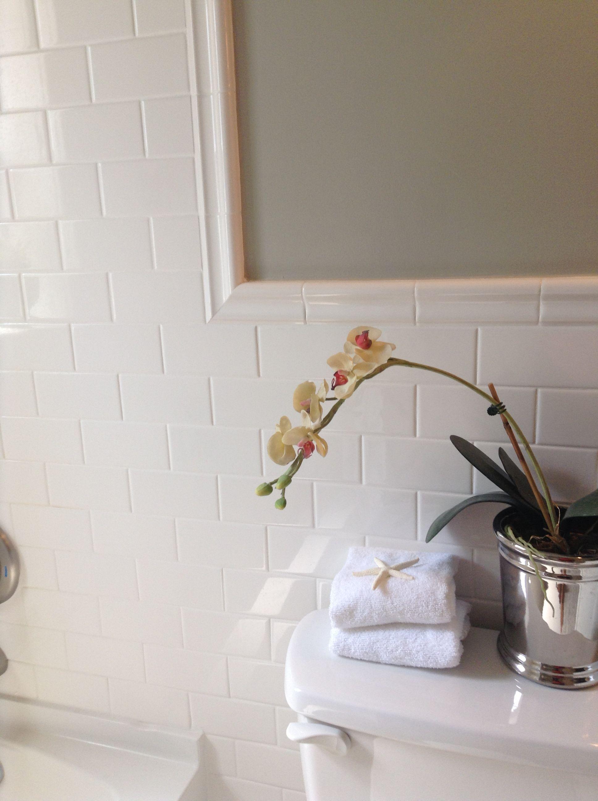 Bathroom subway tile with chair rail repair renew for Chair rail ideas for bathroom