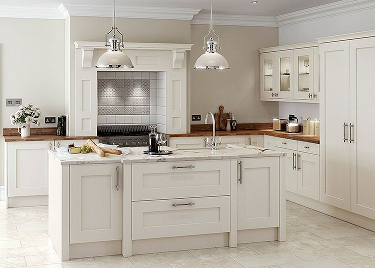 Shaker Style Kitchen Built In Garbage Cans Rivington Oak Bespoke Painted Calico Dove Grey Decor Solid Ash Cream First Impressions