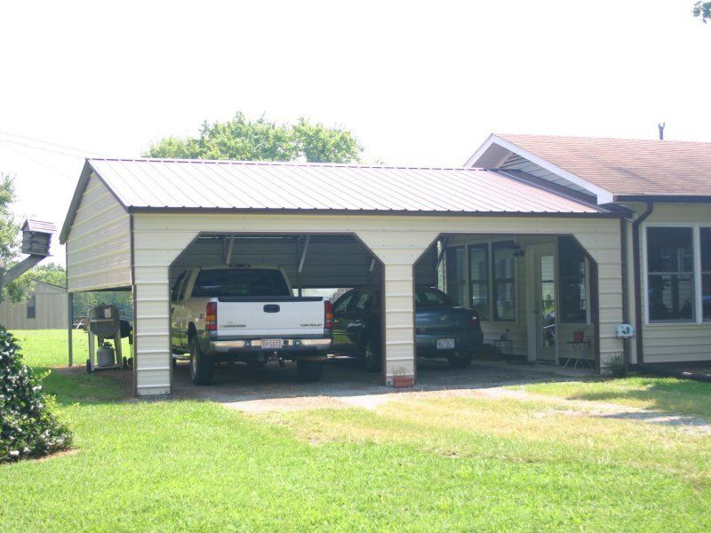 22w X 26l X 8h Vertical Roof Side Entry Carport For 2 Mid Size Cars Metal Carports Metal Buildings Carport