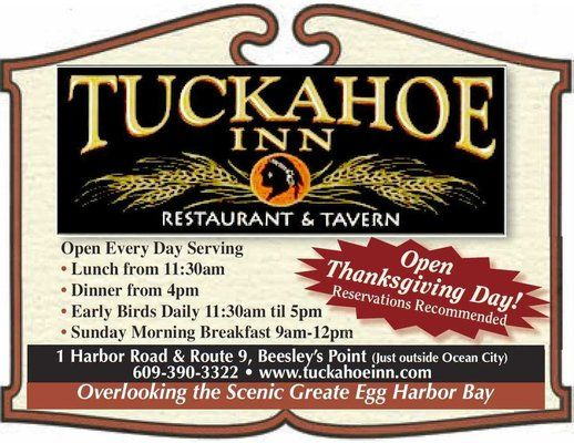 Tuckahoe Inn (restaurant on the waterfront) on the mainland from Ocean City NJ
