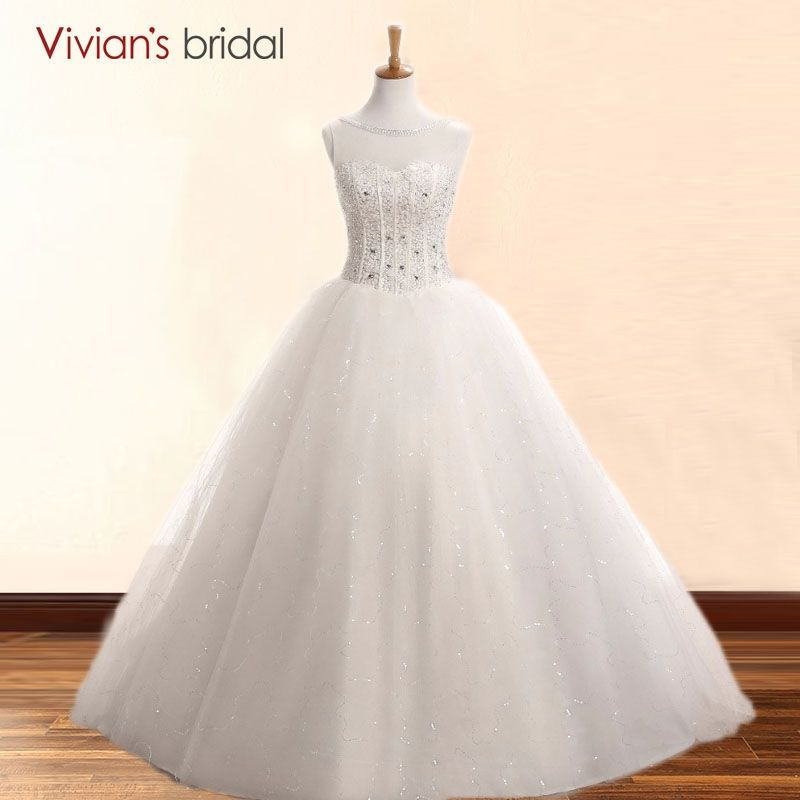 Vivian\'s Bridal Beading Crystal Wedding Dress Tulle Bride Gowns ...
