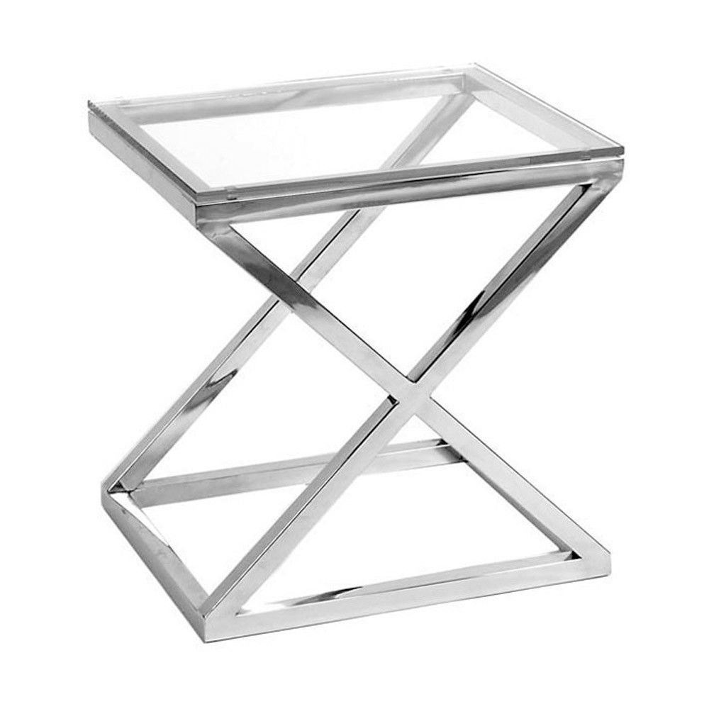 Eichholtz Criss Cross Side Table Glass Side Tables Steel Table