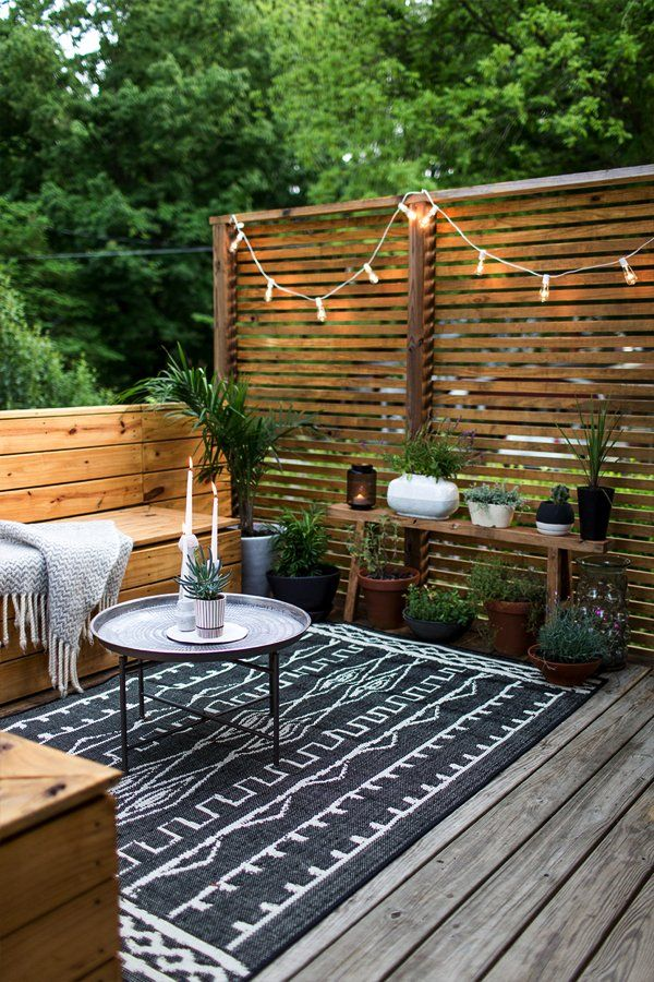Outdoor Styling Ideas // Small Space Outdoor Ideas // Outside Patio Space  With Plants And Market Lights