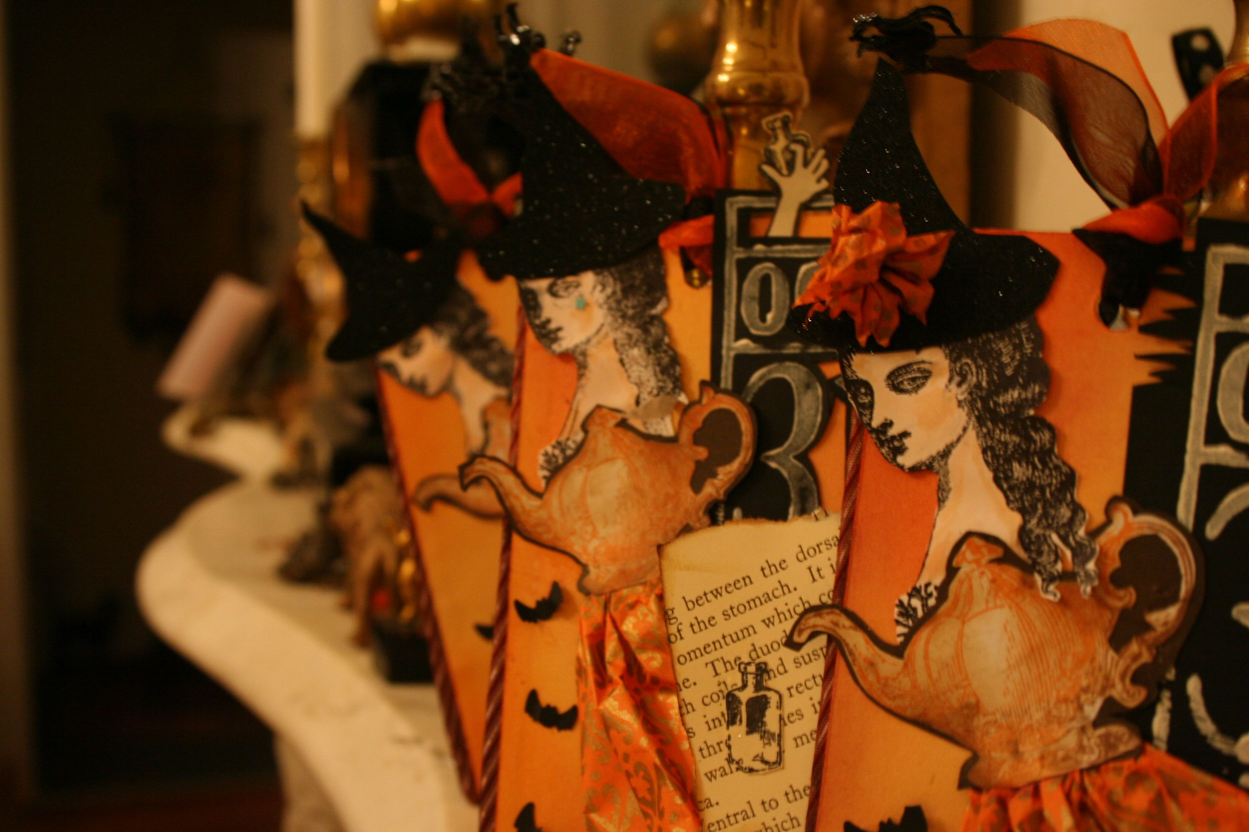 Halloween tea witch art tags