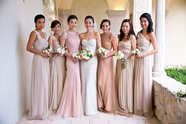 Pastel coloured bridesmaids with One and Only Paris