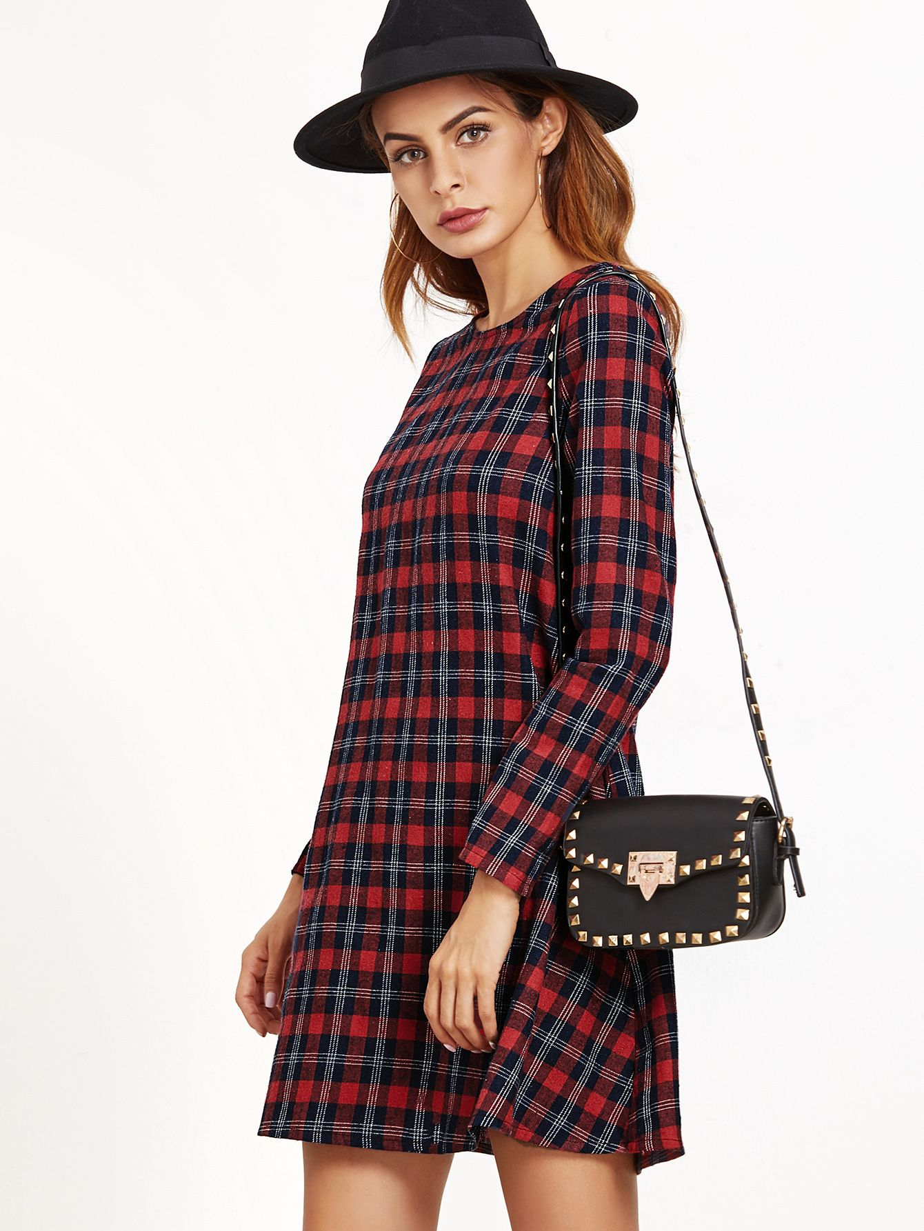 Vestido de cuadros línea A - marino rojo (Shein. 17.25€)  b5a530cfabc8
