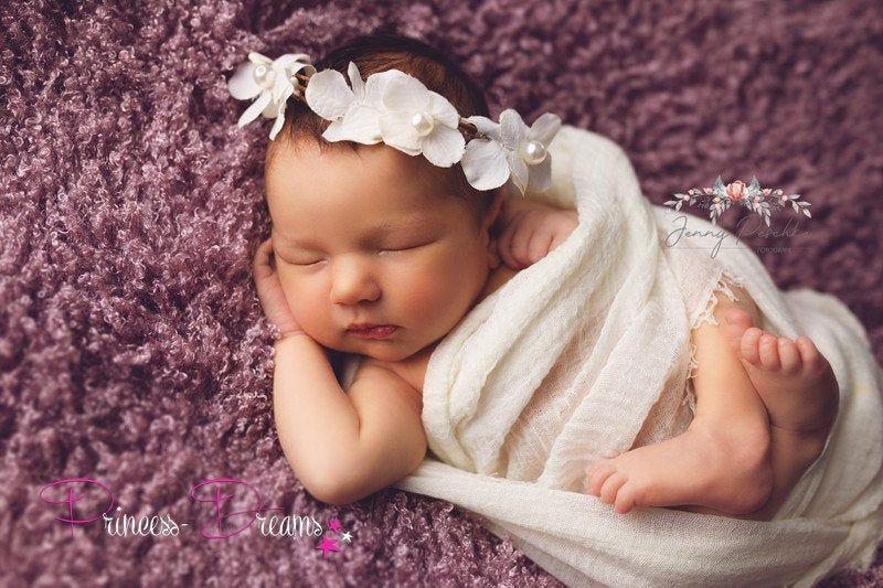 Baby Stirnband Haarreif Haarkranz Taufe Neugeborenen Fotoshooting Rosen NEU