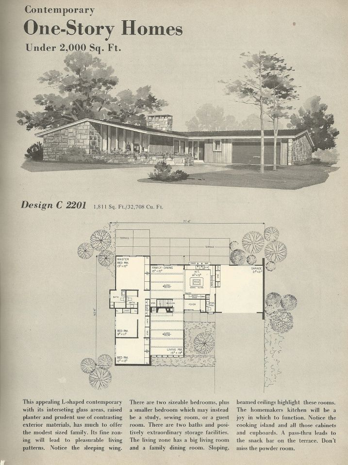 Vintage house plans 1960s homes mid century homes