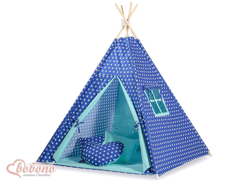 tipi teepee pour enfant avec textile bleu marine toil salle de jeux tent kids teepee. Black Bedroom Furniture Sets. Home Design Ideas
