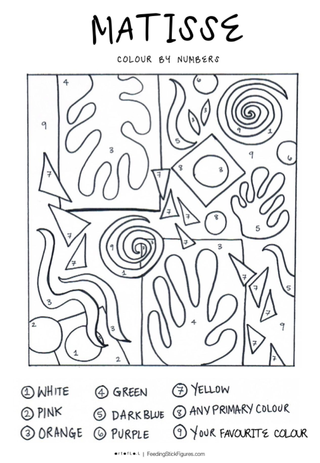 Photo of Henri Matisse Art Colouring Page for Kids | Feeding Stick Figures