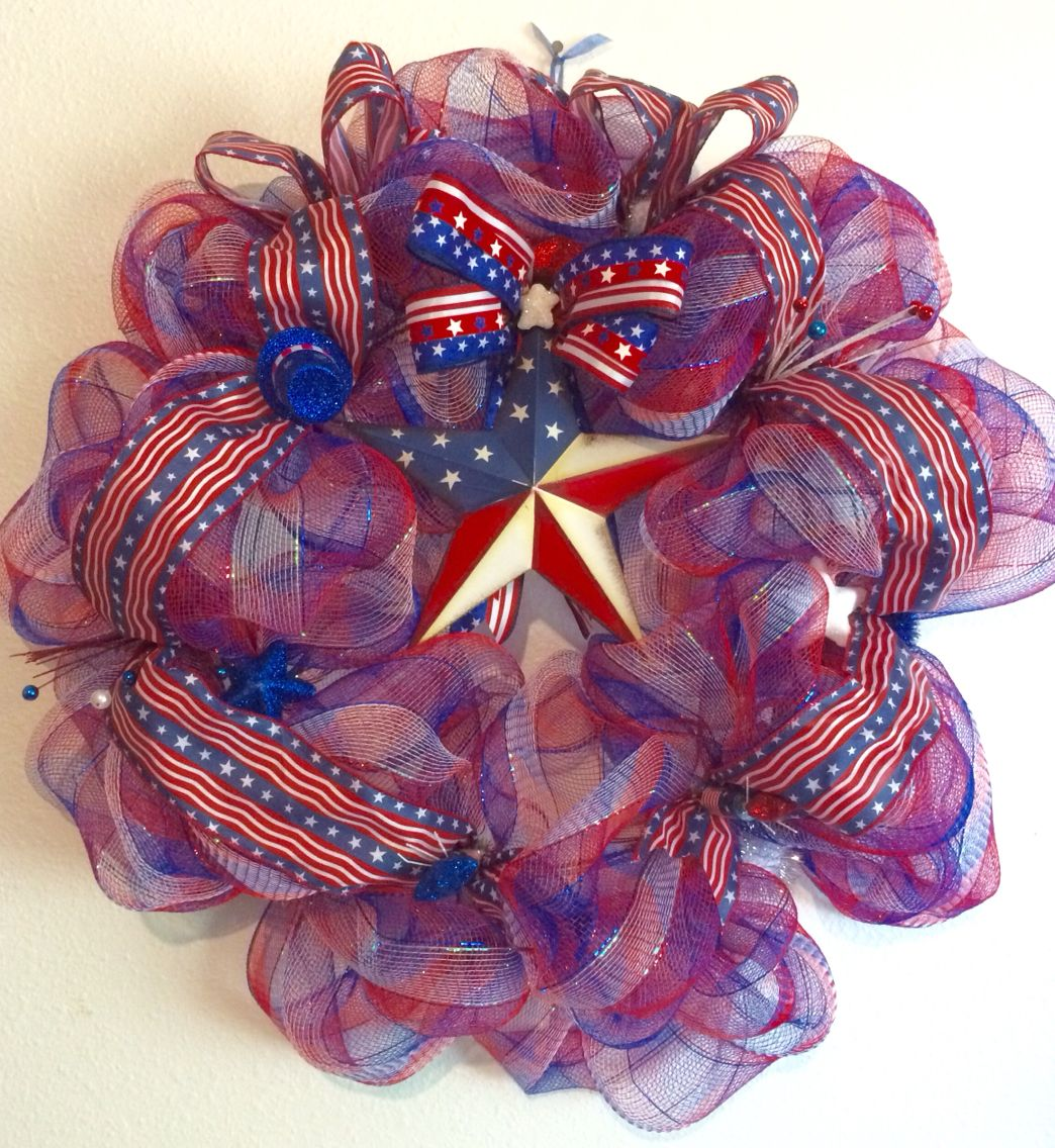 Patriotic wreath for sale by laces crafty creations on Facebook