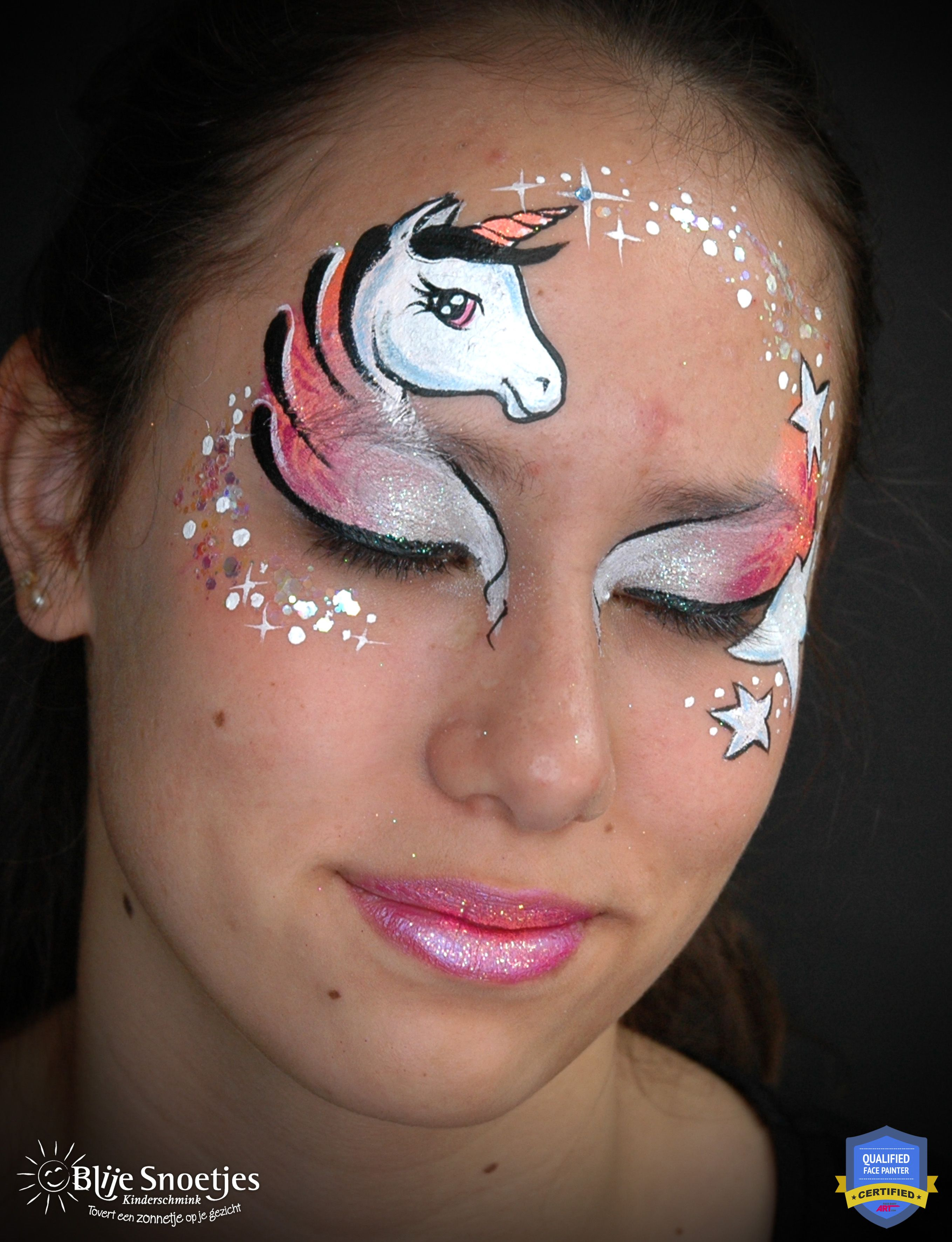 Easy and quick unicorn facepaint design with lots of ...
