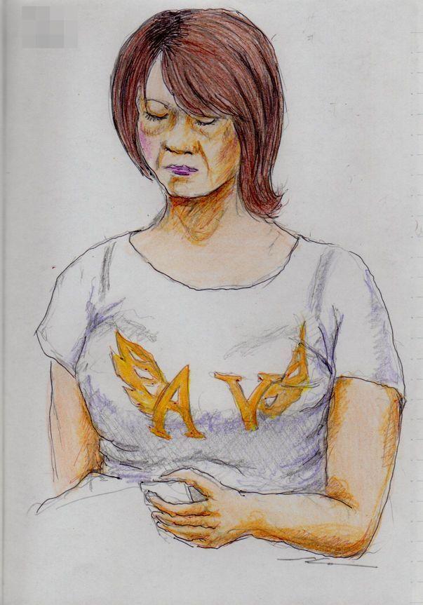 白いTシャツのお姉さん(通勤電車でスケッチ) It is a woman of sketch wearing a white T-shirt.  I drew in a commuter train.