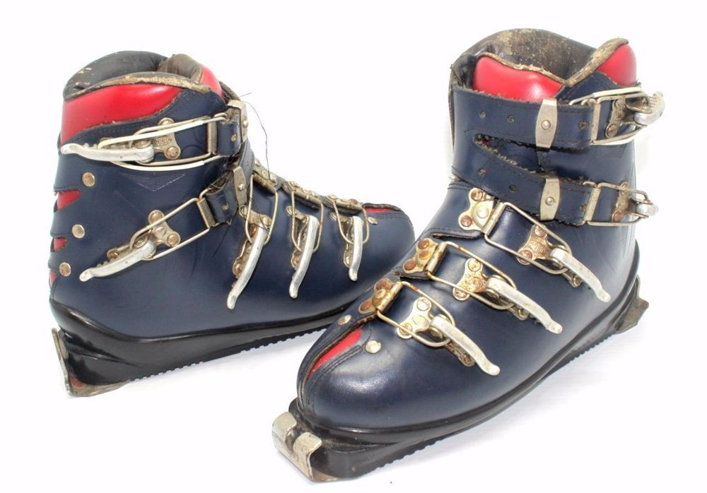 Leather Ski Boots Red & Blue TOBA Clips MUNARI Made in Italy