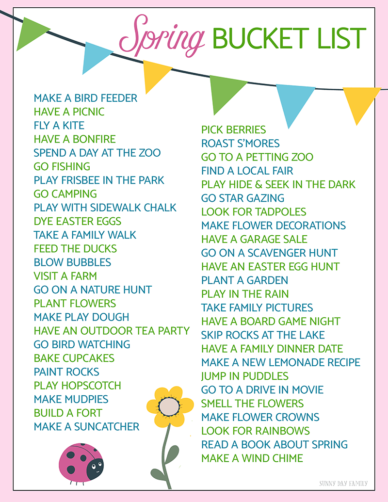 50 fun ideas for your spring bucket list | kids: fun activities for