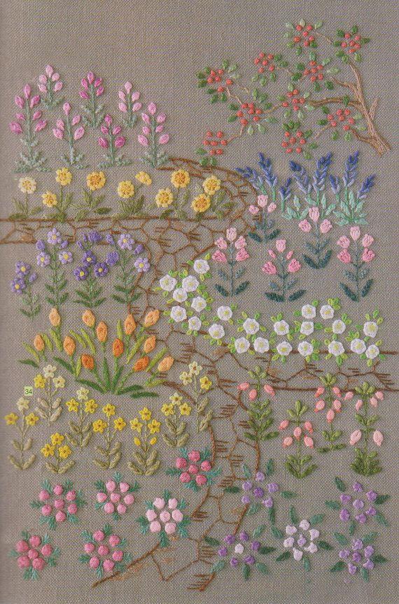 Bordado a mano PDF patrón Tutorial puntada mi jardín 001 | bordados ...