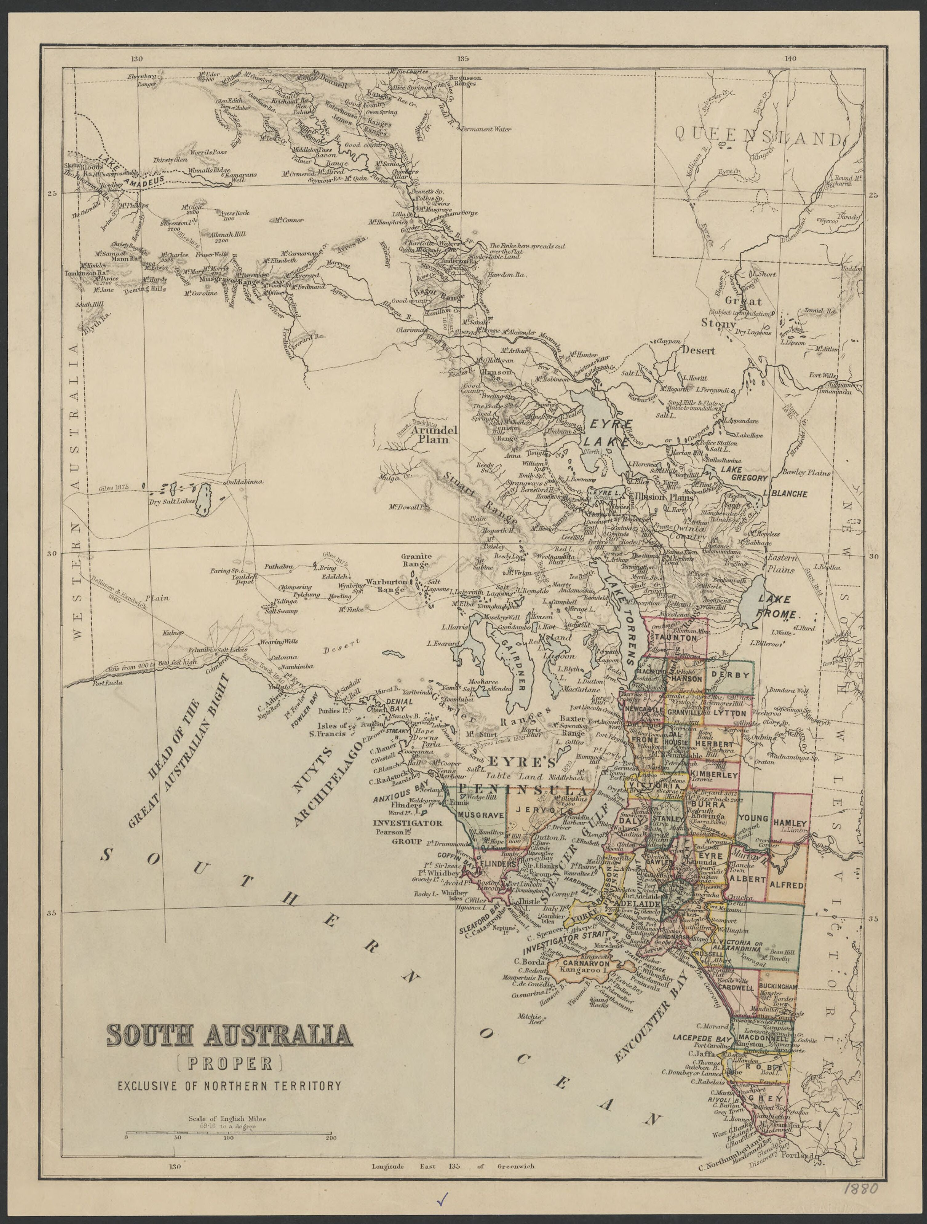 Map Of South Australia And Northern Territory.1880 Map Of South Australia Proper Exclusive Of Northern