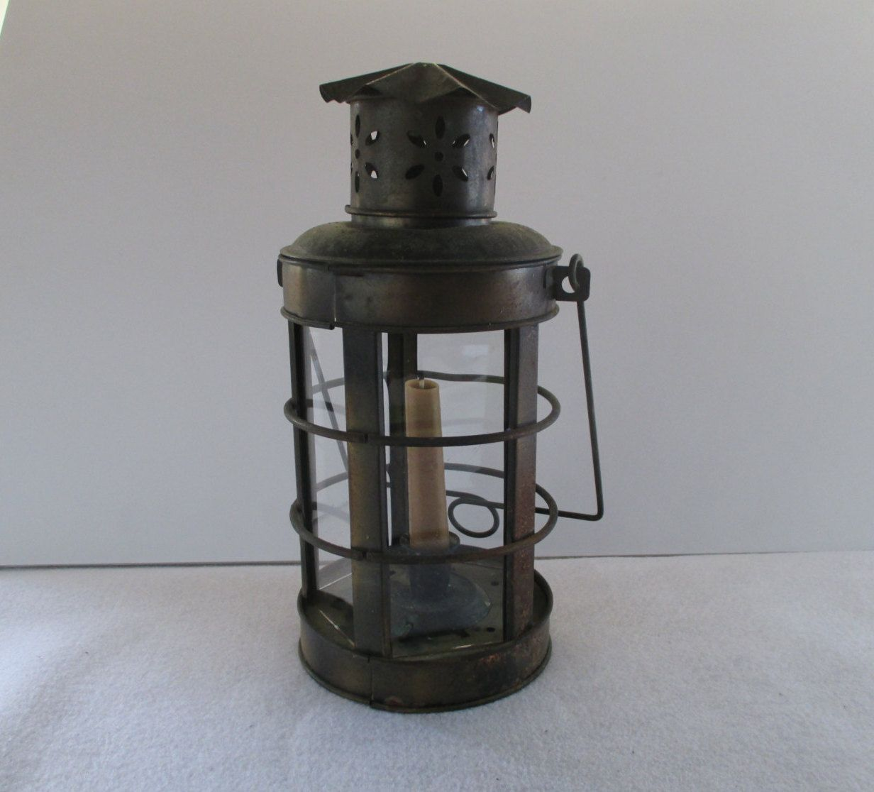 Candle Lantern, Metal Hanging Vintage, 5 Glass Sides, Porch Garden Party  Decor,