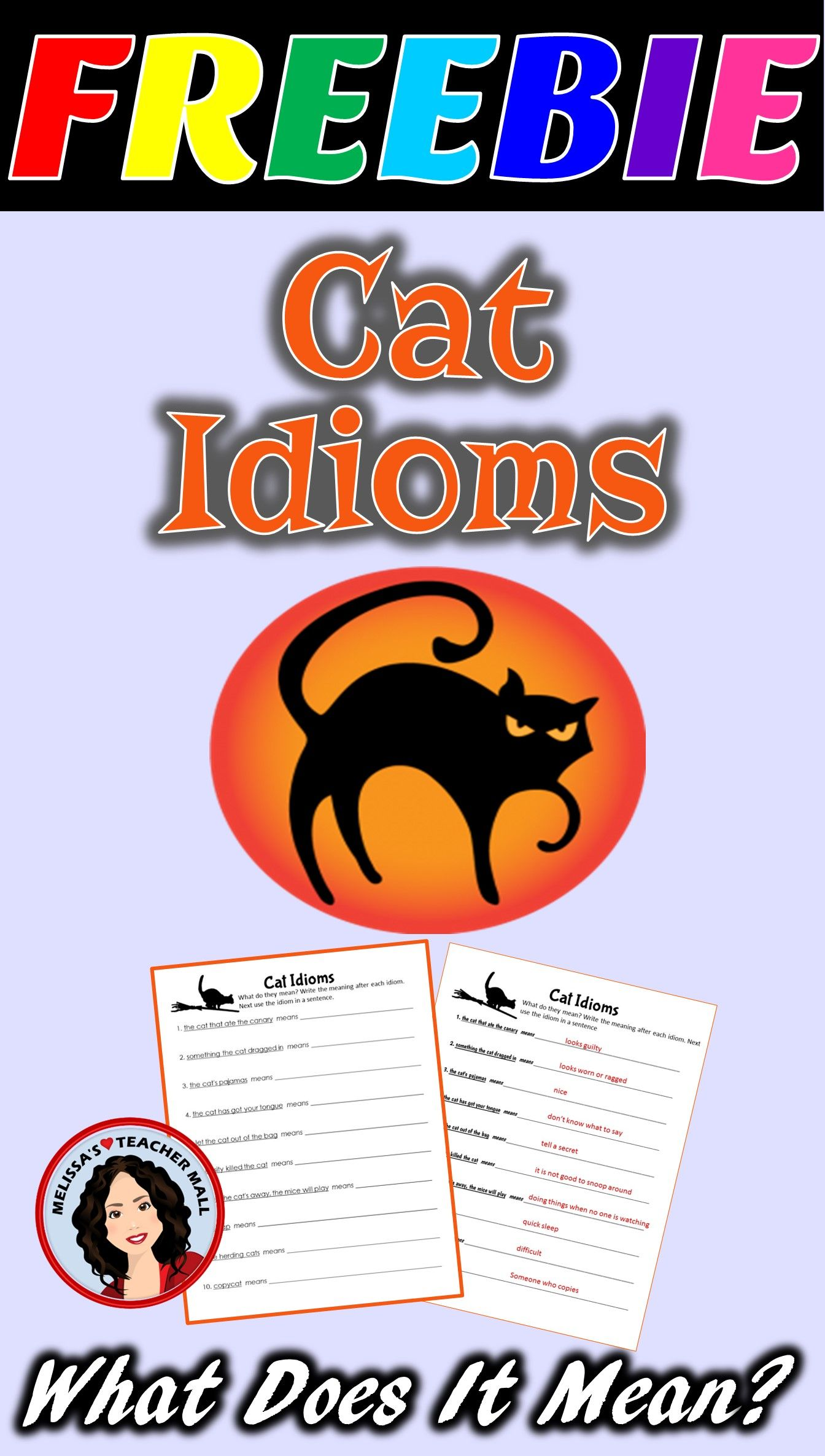 Halloween Figurative Language Cat Idioms Freebie