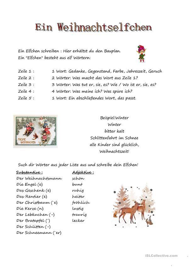 Ein Elfchen | DaF/Z | Pinterest | Elfchen, für Kinder und Weihnachten