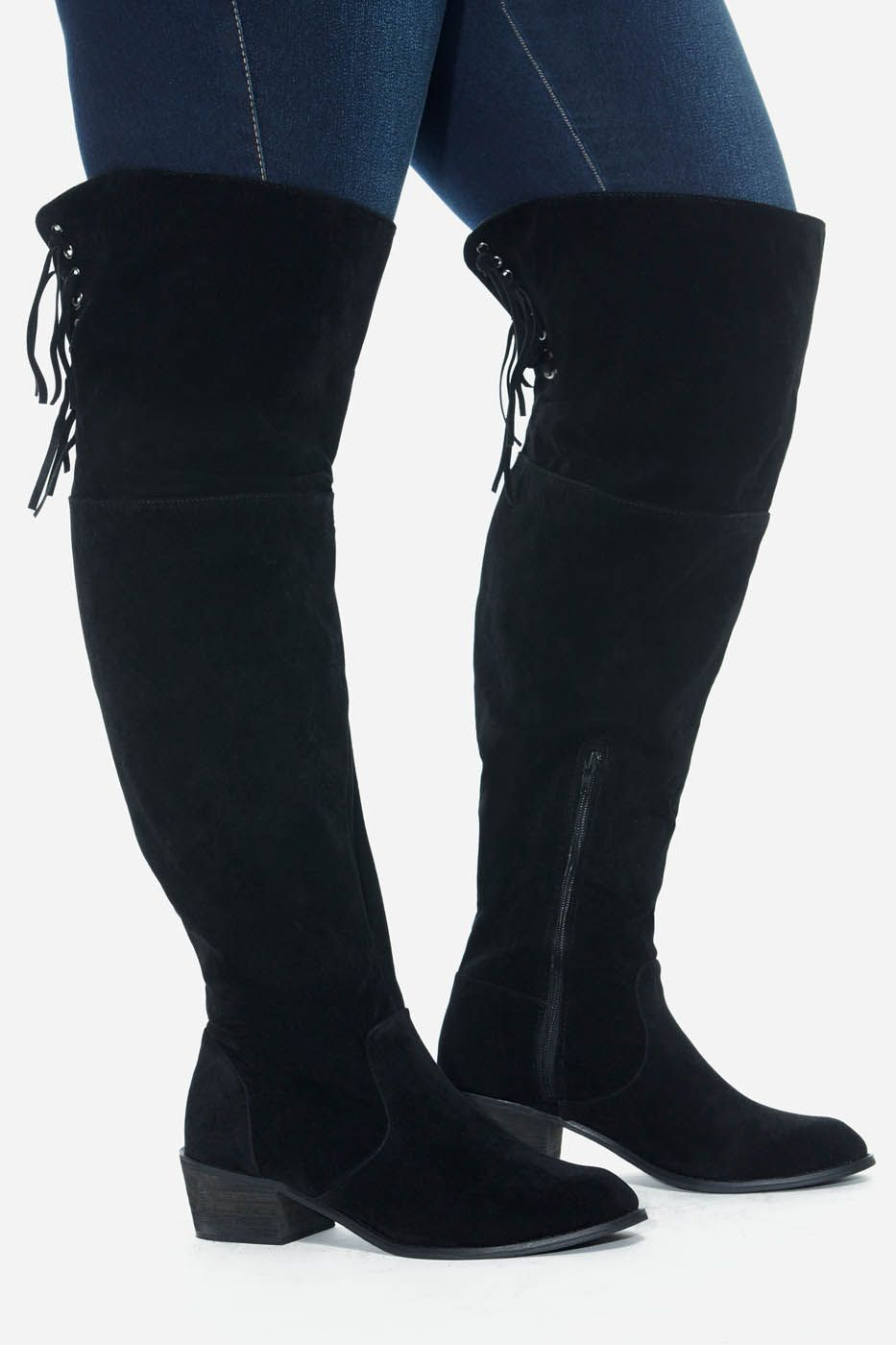 ecb60392030 Plus Size Duke Faux Suede Tassel Knee High Boots (Wide Width)