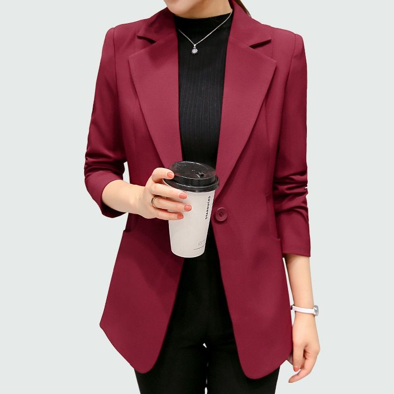 eeef5e991a8bb Wine Red Black Women Blazers And Jackets 2018 New Spring Autumn Fashion Single  Button Blazer Femenino  womenssuits  ladiessuits  suits  businesssuit ...