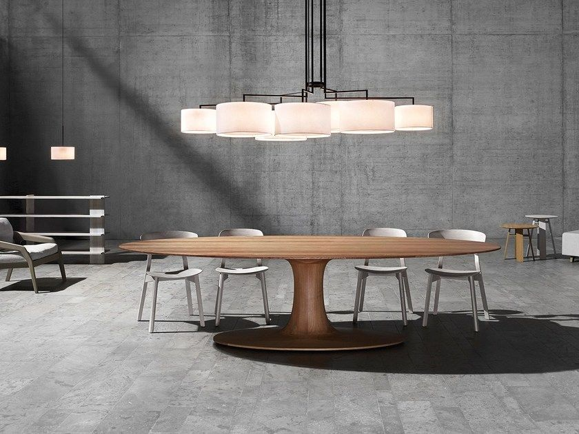 Wooden Dining Table Turntable Oval By Zeitraum Design Formstelle