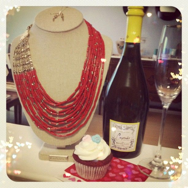 My job as a Stella & Dot Stylist in a nutshell: stunning jewelry, wine, and sweets at trunk shows. #LoveMyJob