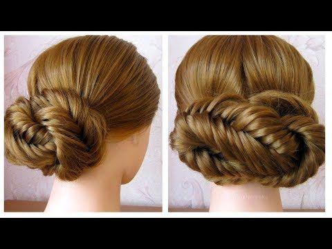 chignon facile cheveux long / mi long (tresse épi de blé