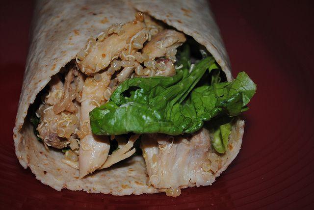 Asian quinoa peanut and chicken wraps