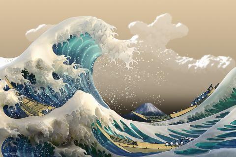 The Great Wave Off Kanagawa Ocean Waves 1084x748 Hd