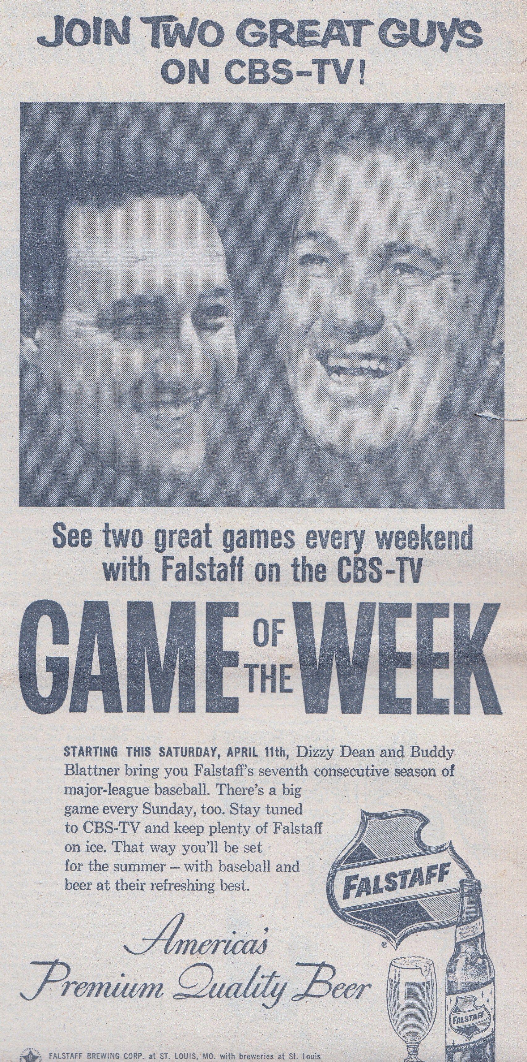 Buddy Blattner and Dizzy Dean calling MLB for Falstaff, 1959 | Dizzy dean, Dizzy, Buddy