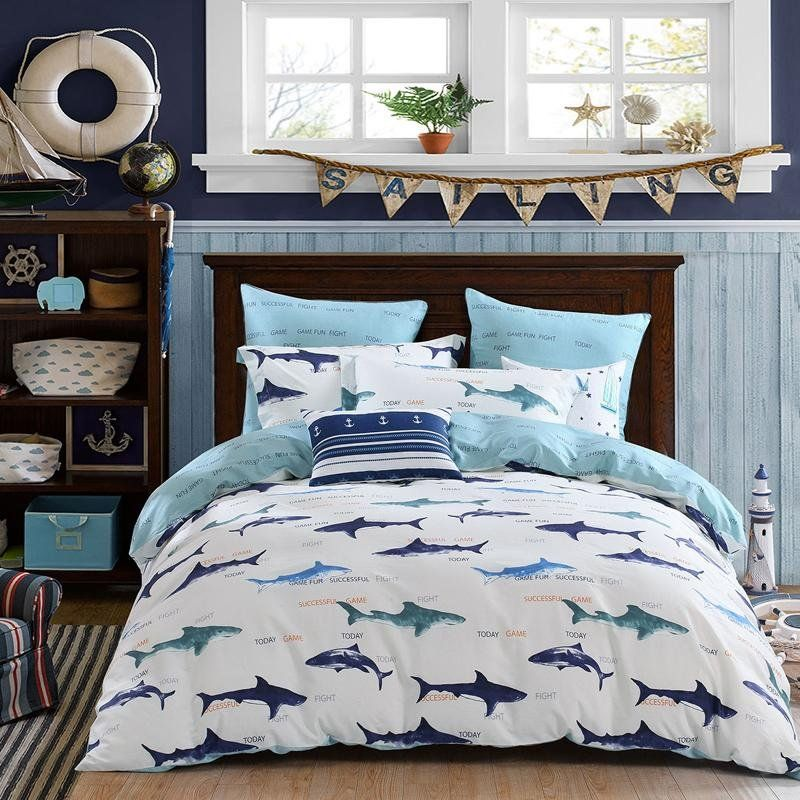Navy Blue And White Sharks Print Marine Animal Ocean