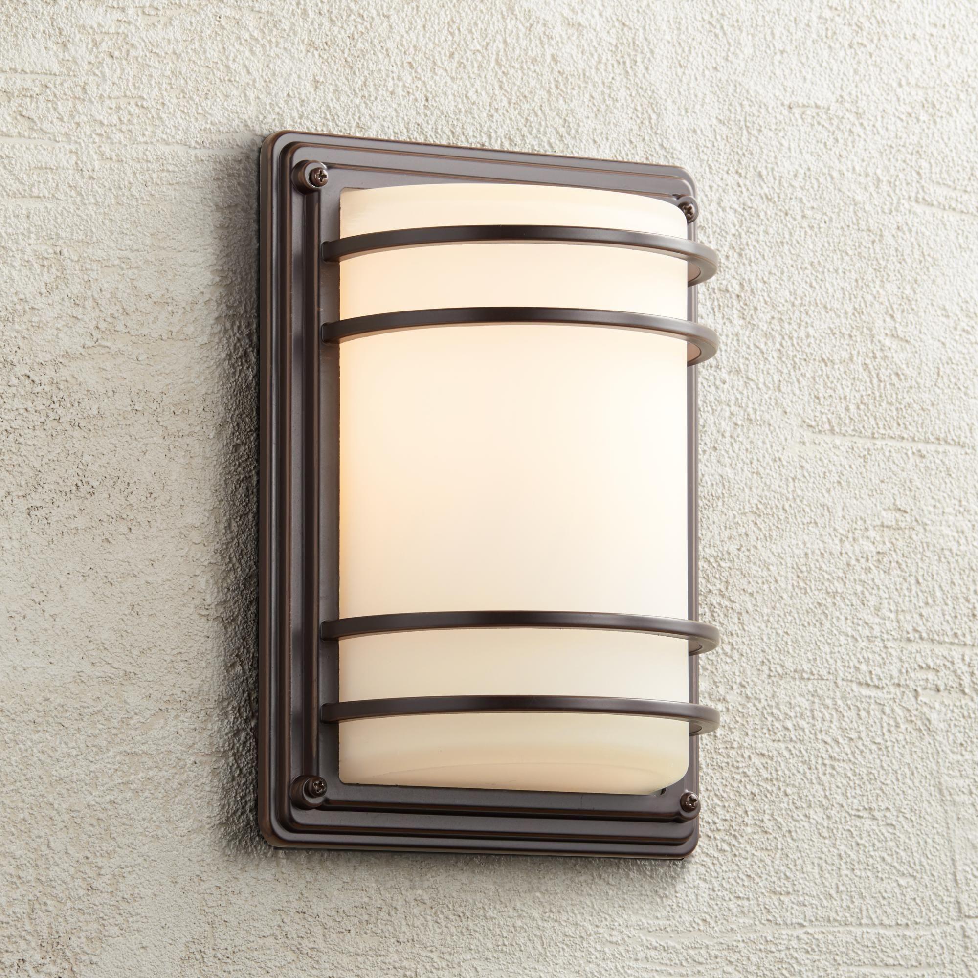 Habitat 11 Inch High Bronze And Opal Glass Outdoor Wall Light Outdoor Wall Light Fixtures Outdoor Wall Lighting Wall Lights