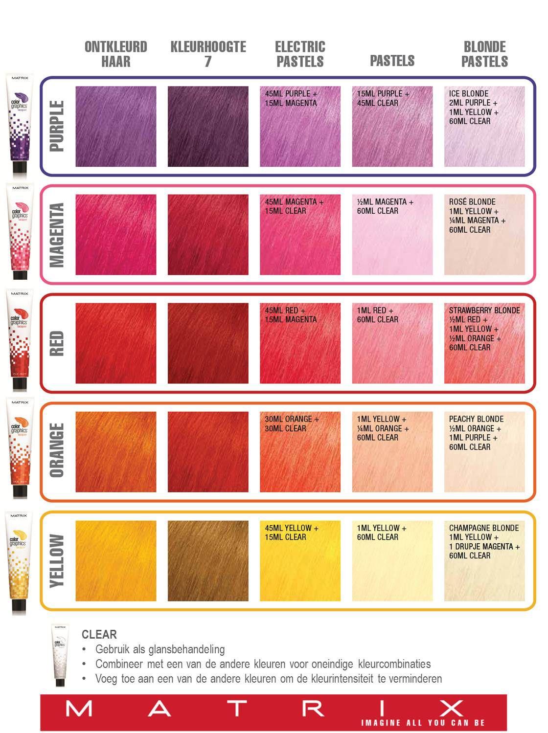 Matrix Colorgraphics Lacquer Kleurformules Hair In 2018