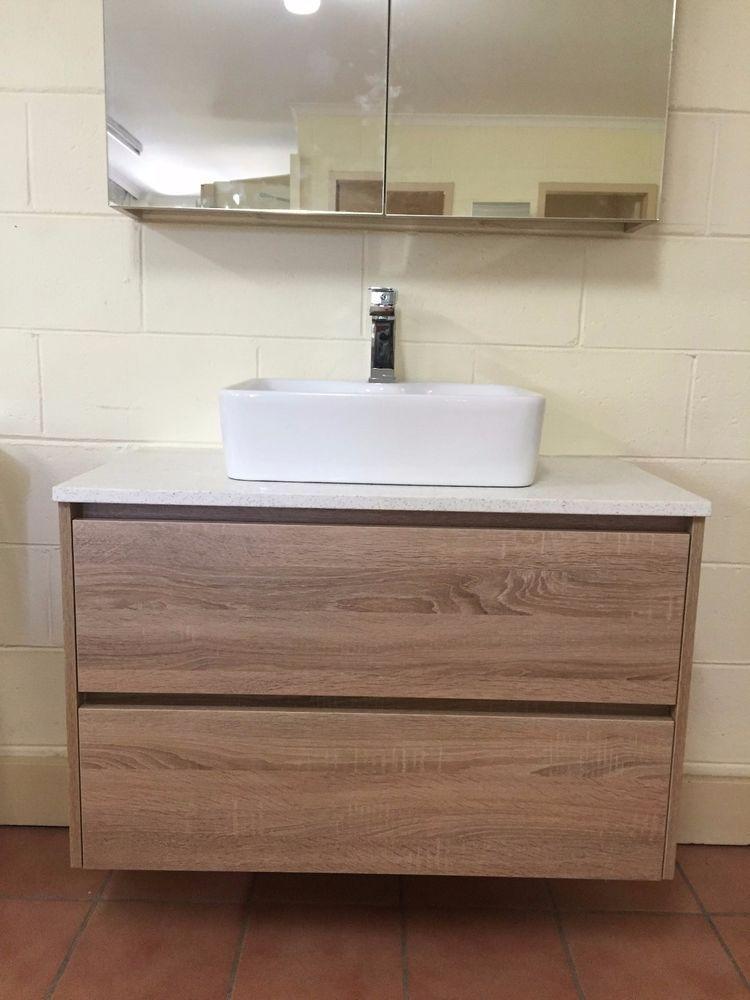 Duo 900mm White Oak Timber Wood Grain Wall Hung Bathroom Vanity W Stone Top Wall Hung Bathroom Vanities Timber Wood Bathroom Vanity