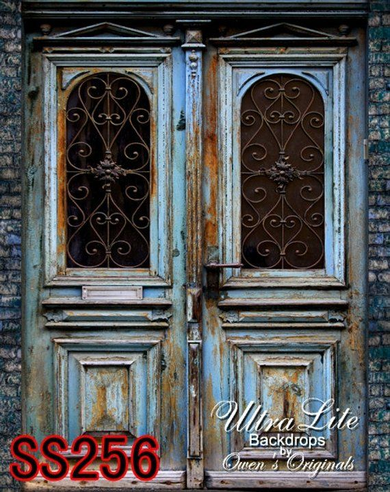 Photography Backdrop, Blue Wood Door Scenic Photo
