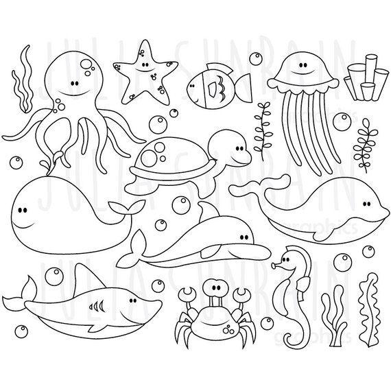 Sea Animals Digital Stamp Digital Clipart Vector Set Etsy In 2021 Digital Stamps Sea Animals Clip Art