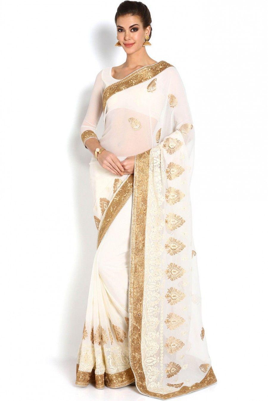 0a17aecb37f Buy Soch White   Gold Chiffon Saree Online