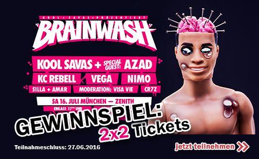 !! GEWINNSPIEL !! Wir verlosen 2x2 Tickets für das Kool Savas eigene Brainwash Festival am 16.07.2016 in München! Zur Teilnahme: http://www.snowlab.de/gewinnspiel.php  Volles Line-Up: Kool Savas + Special Guest Azad KC Rebell / Vega / Nimo / Silla + Amar / Cr7z Moderation: Visa Vie  Jetzt teilnehmen und mit etwas Glück bist du dabei!  Teilnahmeschluss: 27.06.2016