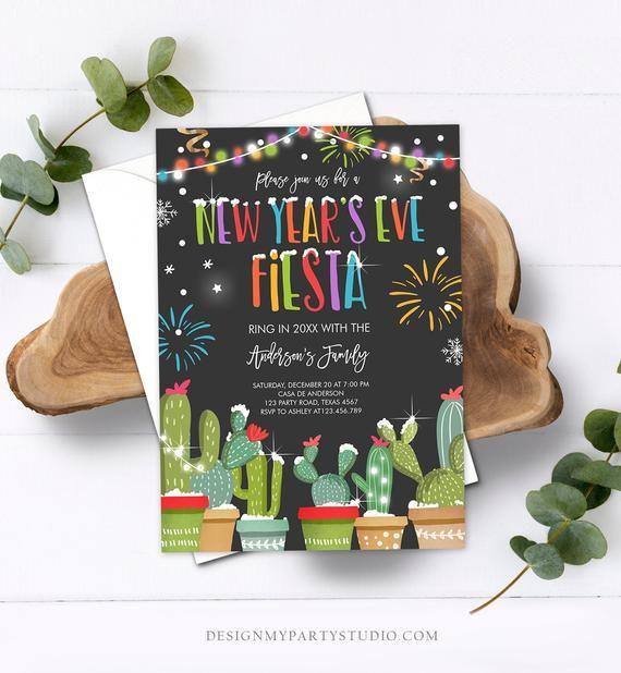 Editable New Years Eve Fiesta Invitation Cactus Mexican ...