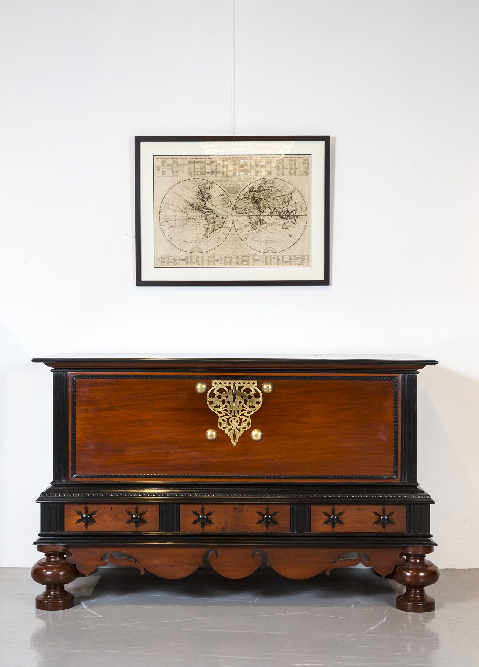 A Stunning, Large Dutch Colonial Storage Chest Of Solid Plank Construction  In Mahogany, The