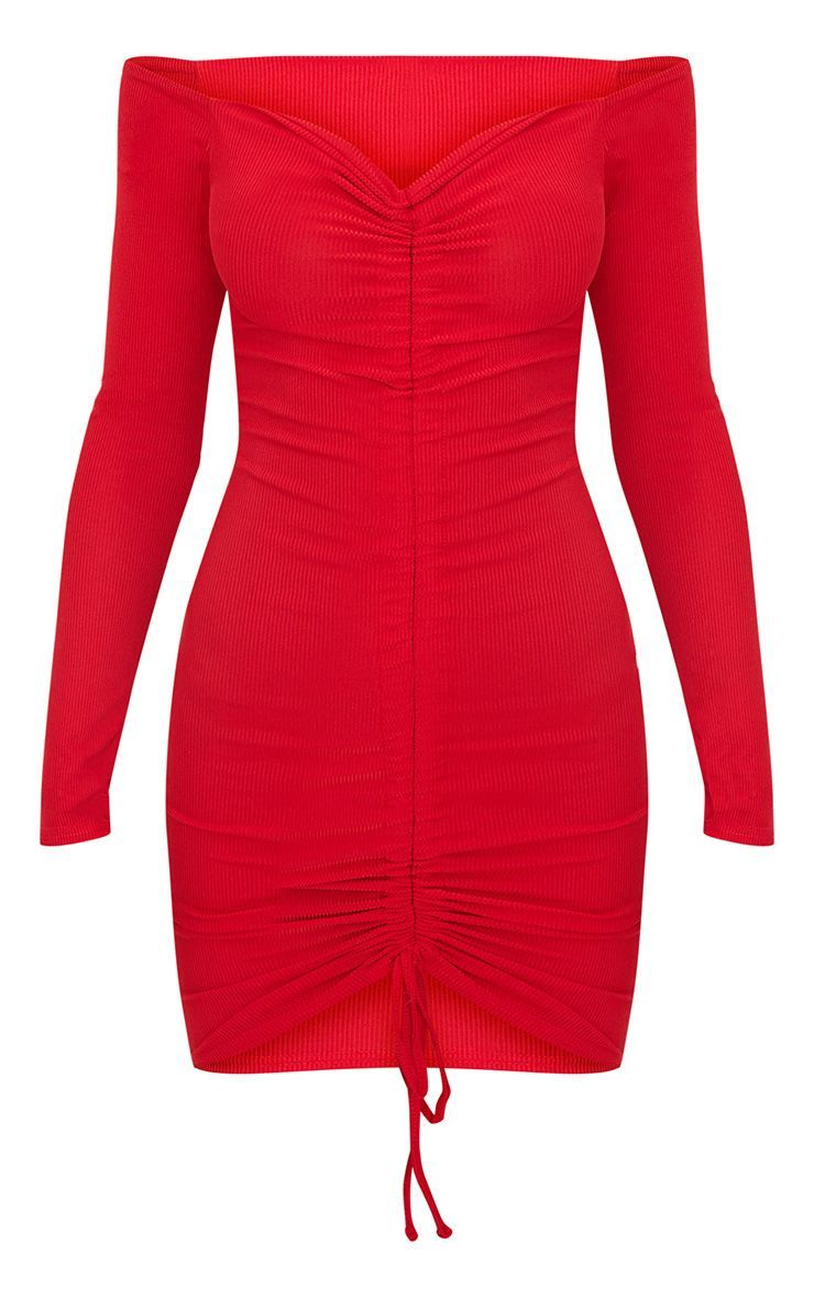 Red Ribbed Long Sleeve Bardot Ruched Bodycon Dress Red Long Sleeve Bodycon Dress Bodycon Dress Bodycon Dress With Sleeves [ 1180 x 740 Pixel ]