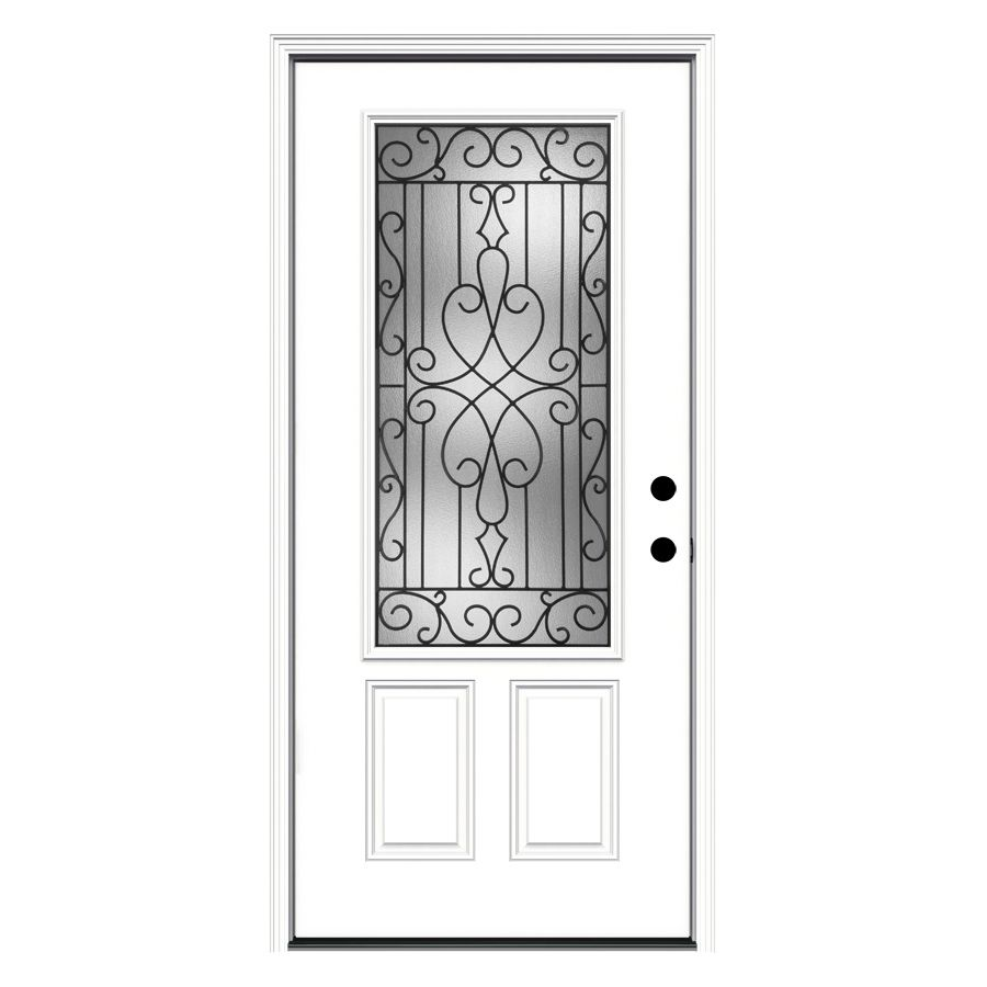 Jeld Wen Wyngate Decorative Glass Left Hand Inswing Steel Primed