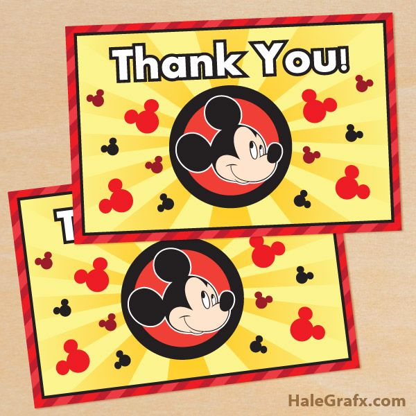 Free Printable Mickey Mouse Thank You Card Mickey Mouse Birthday Invitations Mickey Mouse Invitation Mickey Mouse Birthday Party