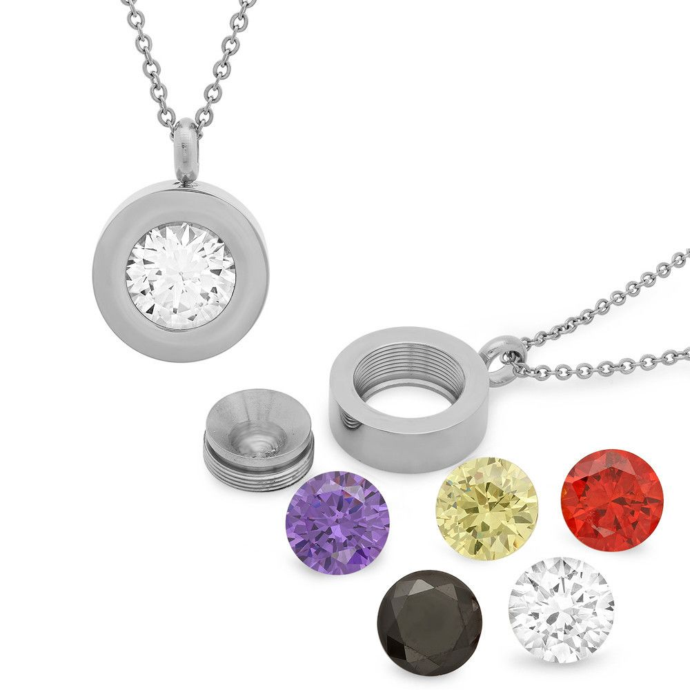 Ladies stainless steel cz pendant interchangeable jewelry