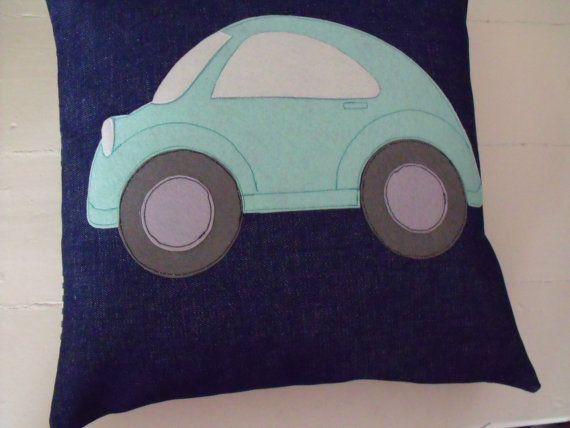 appliqued car cushion car pillow nursery by fingerprickinggood