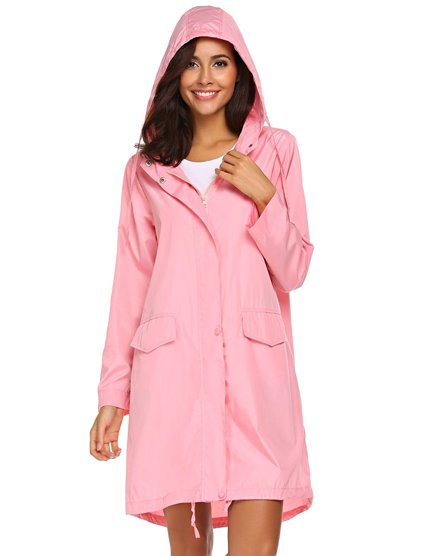 e354b358d Women's Clothing, Coats, Jackets & Vests, Trench, Rain & Anoraks, Raincoats,  Womens Lightweight Hooded Waterproof Active Outdoor Rain Jacket S-XXL -  Pink ...