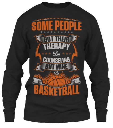 Basketball Therapy Black Long Sleeve T-Shirt Front